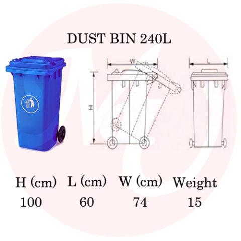 Size Chart tempat sampah 240 liter